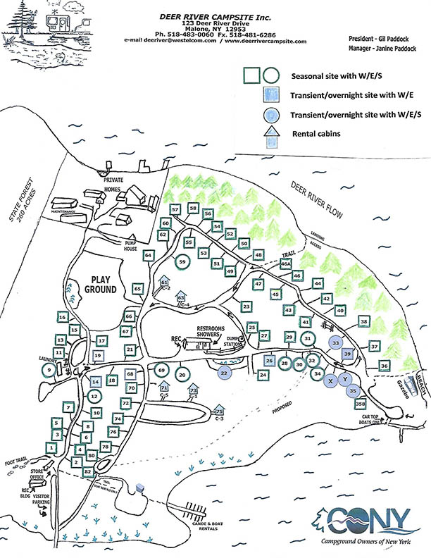 sitemap for deer river campsites - updated mar 2019
